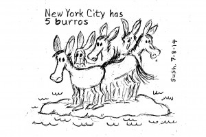 Cartoon of five burros on an island