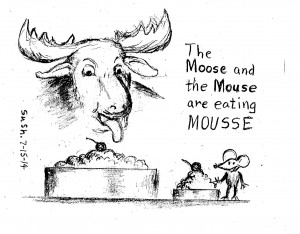 Cartoon of a face of moose with a large- and a mouse with a small-mousse dessert