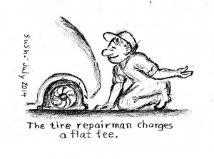 Cartoon of man changing a flat tire