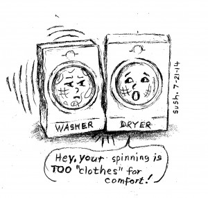 Cartoon of a washer and dryer with faces