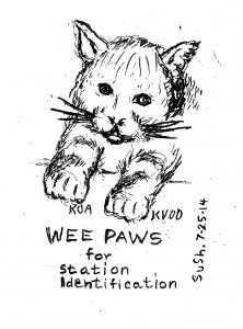 Cartoon of cat with radio station call letter by paws