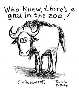Cartoon picture of a gnu (wildebeest)