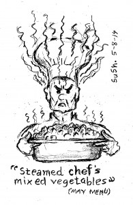 drawing of an angry chef holding steaming tray