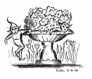 drawing of sprite or gnome next to pot of flowers
