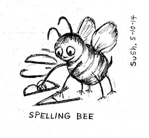 pencil drawing of a bee arranging letters