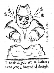 pencil drawing of a baker kneading dough (surrounded by dollar signs)