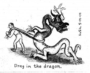 pencil drawing of man pulling a dragon