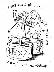pencil drawing of two girl dolls wearing dresses, each standing on a drum