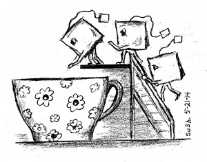 pencil drawing of teabags climbing a ladder and diving into a teacup