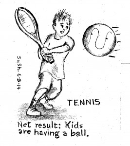 drawing of boy playing tennis