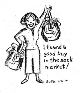 drawing of a woman holding two shopping bags filled with socks