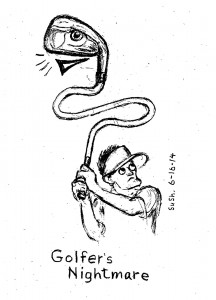 drawing of a golfer holding a golf club turning into a snake