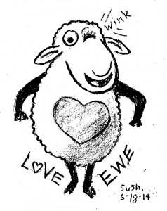 cartoon drawing of a sheep staring on two legs, winking and a heart on its chst