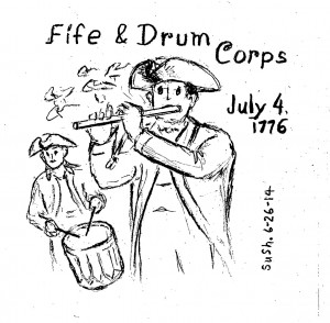drawing of men in revolutionary army clothes playing fife and drum