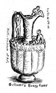 drawing of a ewer (pitcher) with small men