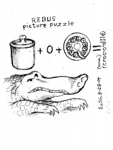 "Picture puzzle: Ceramic ""Crock"" + letter ""O"" + telephone ""dial"" = ""crocodile"""
