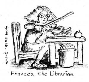 pencil caricature of woman playing violin while sitting at a desk
