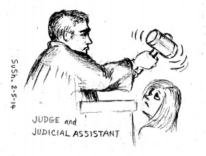 pencil caricature of a judge waving his gavel and a frowning woman