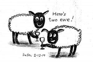 pencil drawing of two sheep holding wine glasses