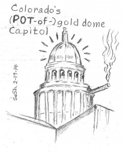 pencil drawing of colorado's capital dome smoking a (pot) cigarette