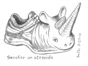 cartoon drawing of a sneaker with a rhinoceros horn and face