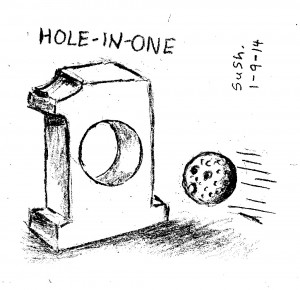 pencil drawing of a golf ball flying toward a number 1 with a hole