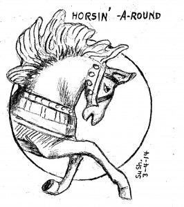 cartoon drawing of a merry-go-round horse on a circle