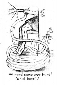 cartoon drawing of a woman's legs and a garden hose
