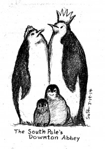 cartoon drawing of two adult and two baby penguins