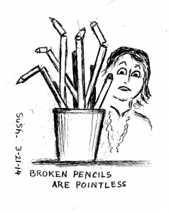 cartoon drawing of woman looking at cup filled with broken pencils