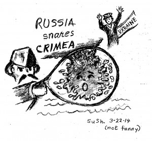 cartoon drawing depicting men representing Russia and The Ukraine