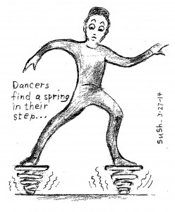 cartoon drawing of a man with springs on his feet
