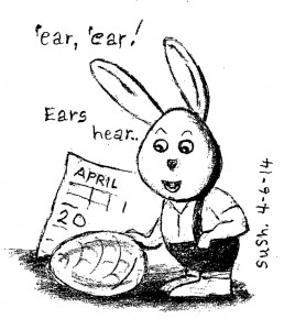 pencil drawing of a bunny, calendar and an egg