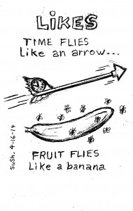 pencil drawing of and arrow with a clock it the feathers, and a banana with flies