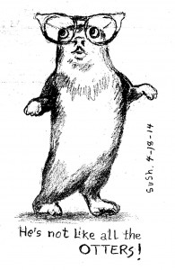 pencil drawing of an otter standing and wearing glasses
