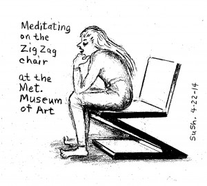 pencil drawing of a woman siting on a museum chair