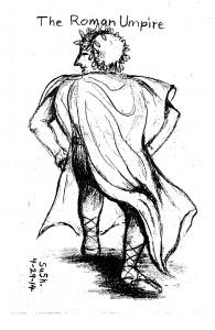 pencil drawing of an ancient roman posing like a baseball umpire