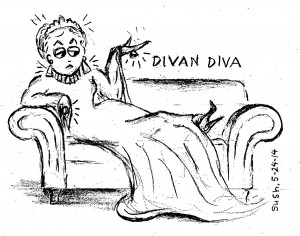 pencil drawing of a sad, elegant woman sitting on a couch (divan)