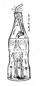 pencil drawing of a giraffe in a Coca-Cola bottle