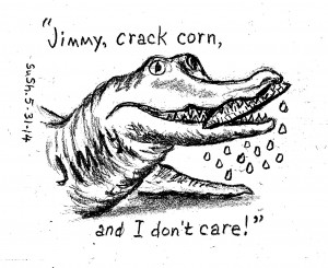 pencil drawing of an alligator named Jmmy chewing on corn-n-the-cob