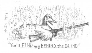 pencil drawing of a duck with a shotgun