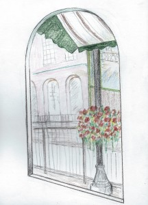 Colored pencil sketch looking outround-top doorway, at building with arched windows. In the foreground is part of a canopy and a flower basket.