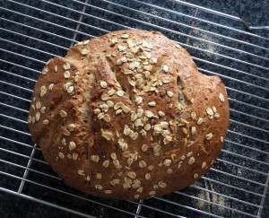 "Oatmeal Seed Bread. Baked on a stone with steam ffor a crusy bread. Baked April 24, 2015. Recipe from ""Whole Grain Breads by Machine or Hand: 200 Delicious, Healthful, Simple Recipes"" by Beatrice Ojakangas, Wiley (1998), Edition: 1, Hardcover, 400 pages."